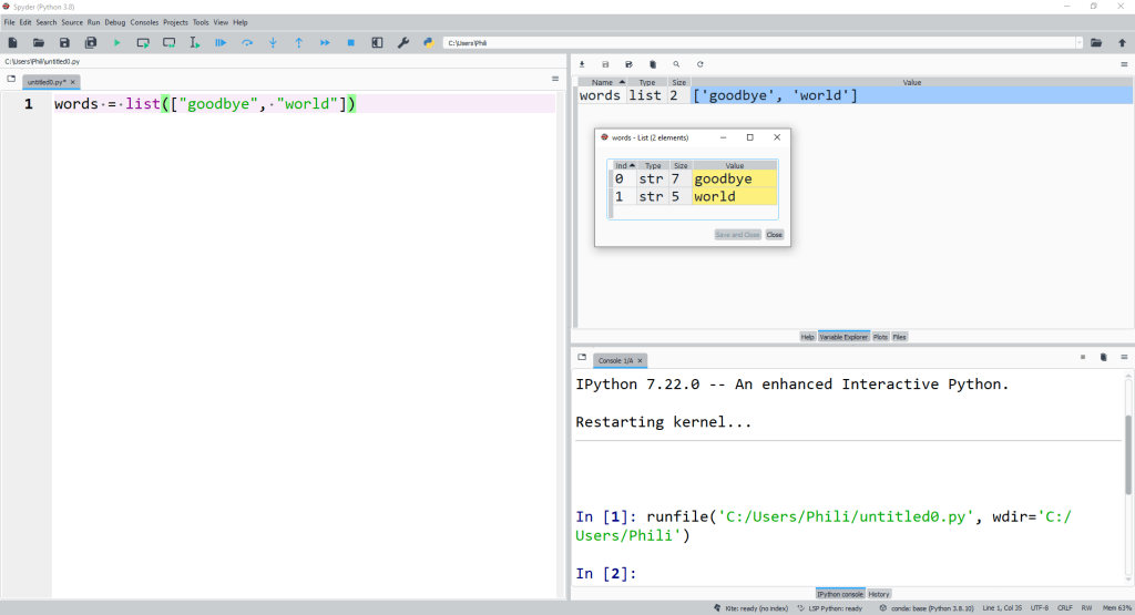 The class list can be used to instantiate a list explicitly. To do so we need to use a set of square brackets [ ] to enclose the list and commas , as delimiters to separate the list elements from one another.