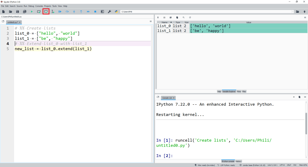 We can use the list method extend from the instance list_0 with the positional input argument list_1 to extend list_0 using the values in list_1.