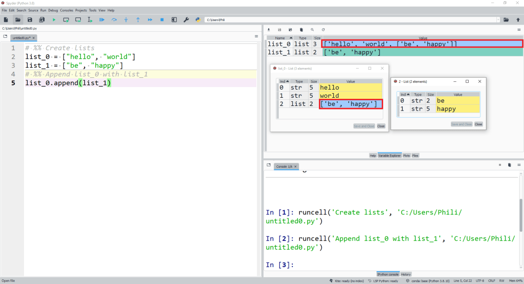 Now let's look at the list method append instead. This time we see that list_0 has a new element appended at the end and the value of this new last element is list_1 i.e. list_0 contains a nested list.