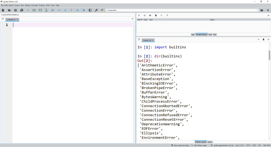 We can look at the dir of Python builtins using the Spyder console.