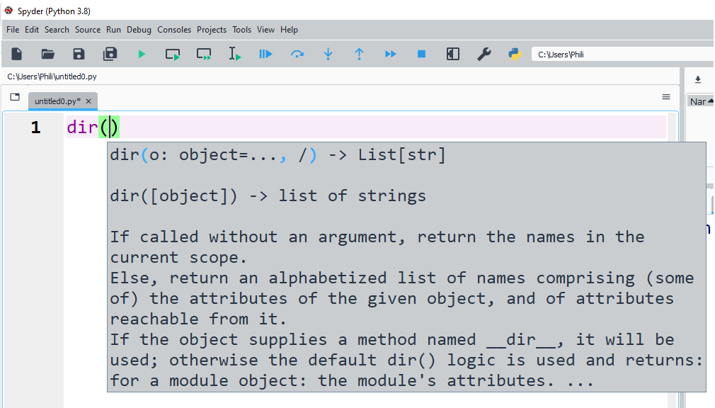 dir is a Python function used to look up the directory of an object.