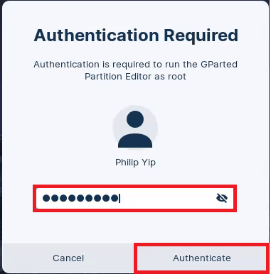 Accept the GParted Authentication Prompt.