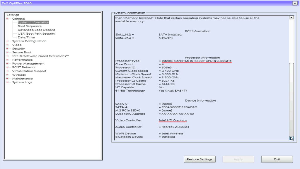 The Dell UEFI BIOS Setup System information giving Processor and Video Cotnroller.