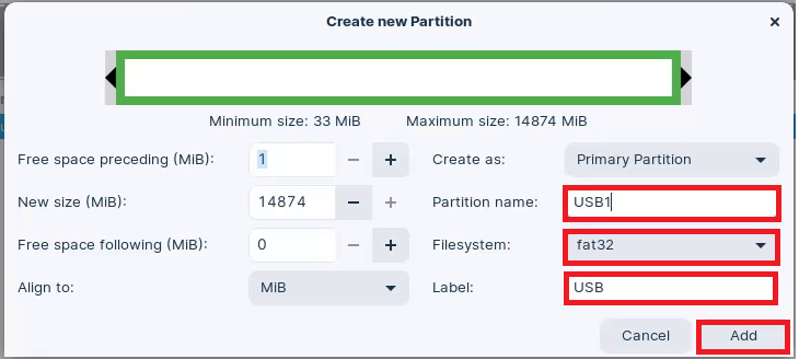 In GParted. Name your Partition USB1, use the FAT32 File System and call the Label USB.