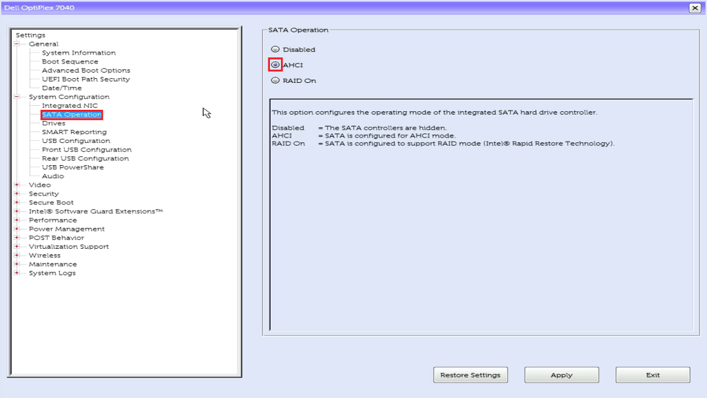 Dell UEFI BIOS Setup SATA Operation must be AHCI for Linux.