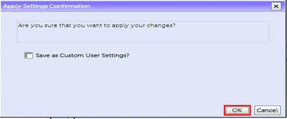 Dell UEFI BIOS Setup confirm changes: