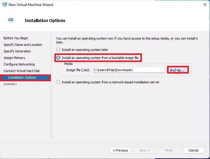 Hyper V New Virtual Machine Wizard, load the Ubuntu 20.04 ISO.