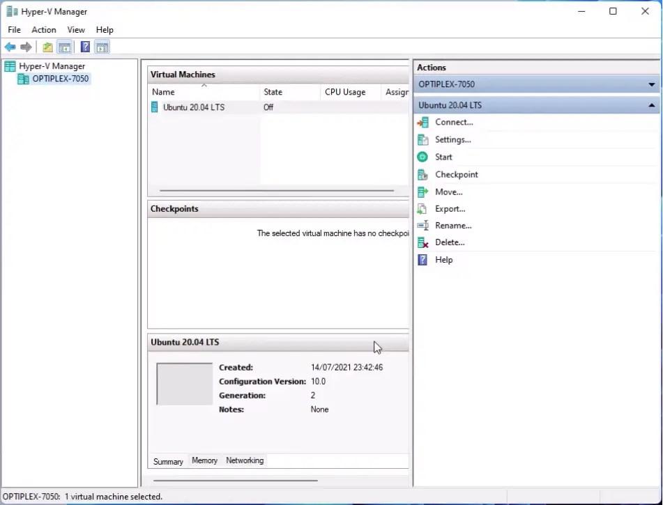 Hyper-V Ubuntu 20.04 LTS Virtual Machine.