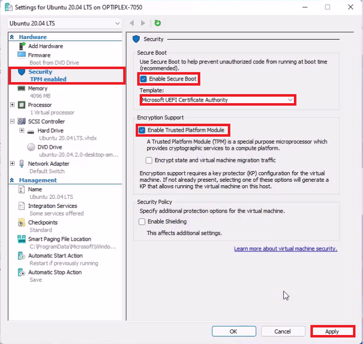Hyper-V Virtual Machine Security Settings. Enable Secure Boot using a Microsoft UEFI Certificate Authority and Enable the Trusted Platform Module.