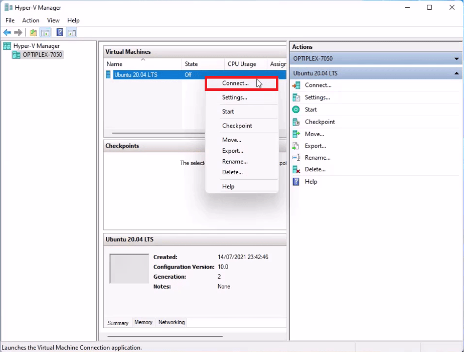 Connecting to a Hyper-V Virtual Machine.