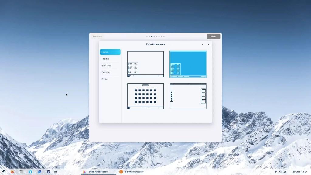 Zorin OS Welcome Tour 6 Zorin Appearance Windows Vista Style.