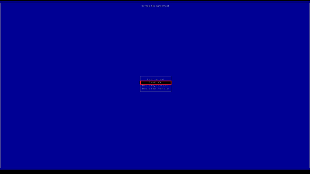 Dell UEFI BIOS Zorin OS Boot Enroll MOK.