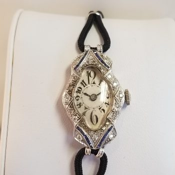 Vintage Ladies Platinum Case Diamond Bezel