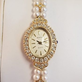 Geneve Vintage 14k Gold Diamond with Pearl Bracelet