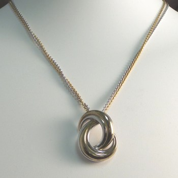 Silver and Gold Dual Chain Necklace with a Silver and Gold Love Knot
