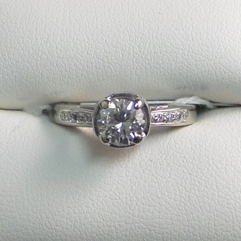 14k White Gold Diamond Solitaire with Diamond Accents