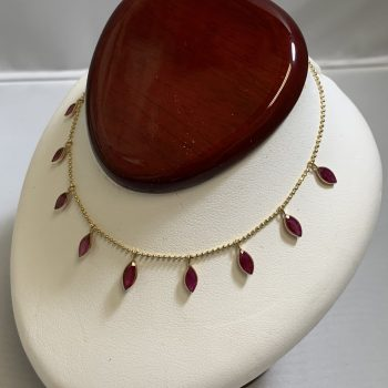 14k Yellow Gold Necklace with Oval Red Stones