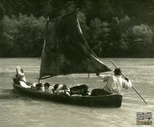 Yurok family, dugout canoe, Klamath River, 1926