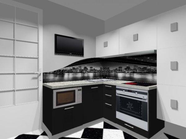 Черно-белая кухня 5,7 кв.м со стеклянным фартуком: фото ...