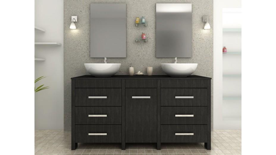 meuble de salle de bain noir double vasque balboa