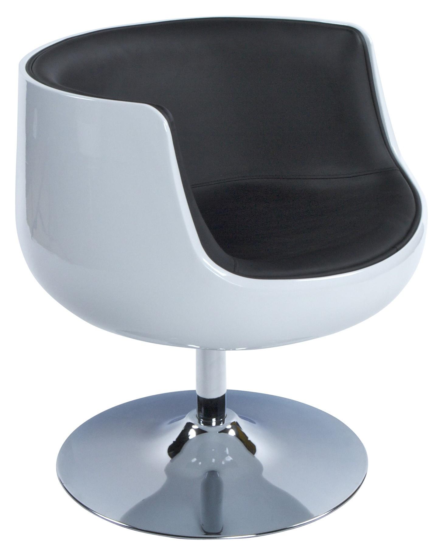kode fauteuil coque boule blanc et noir pivotant delorm design