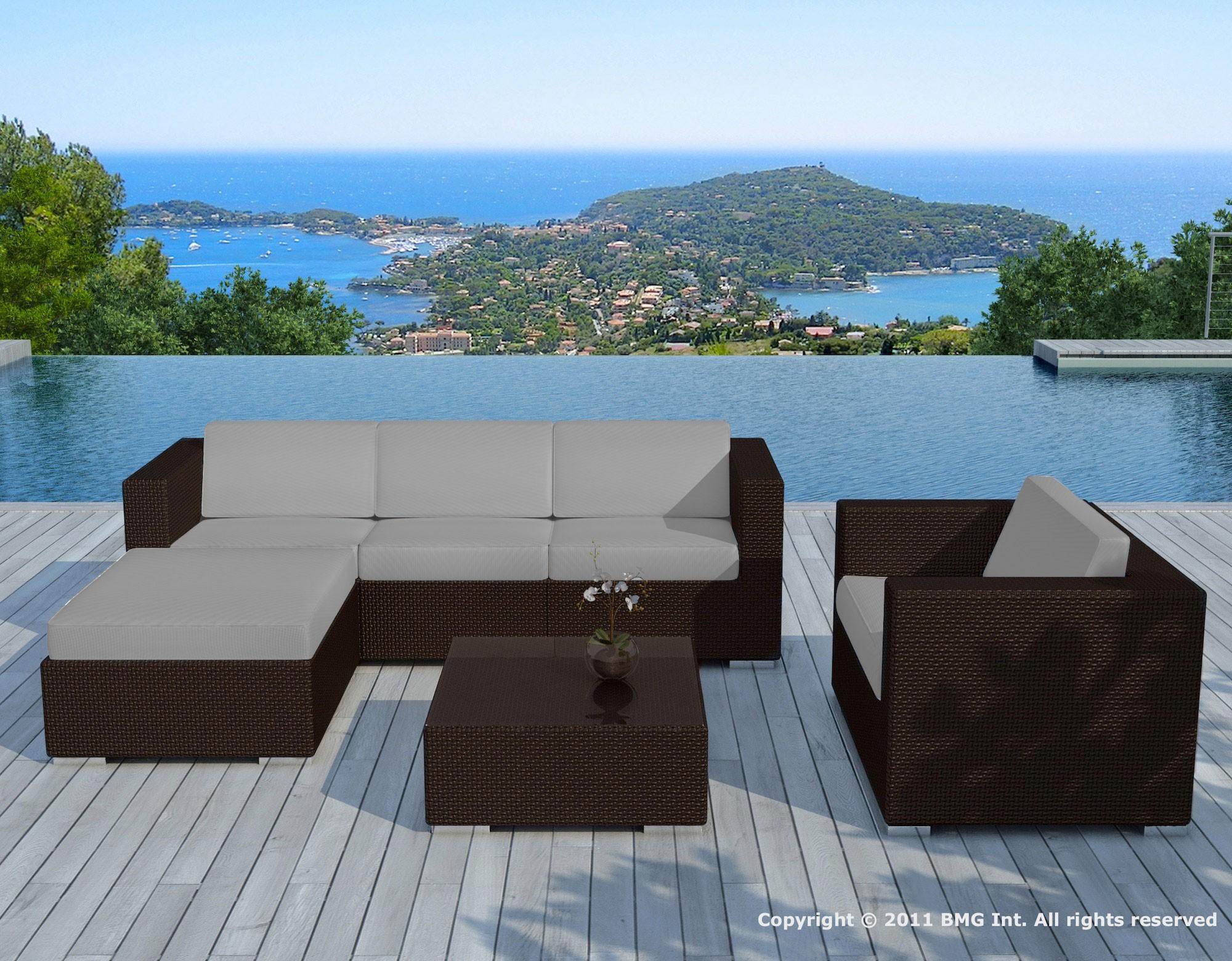 salon de jardin resine chocolat gris copacabana delorm design