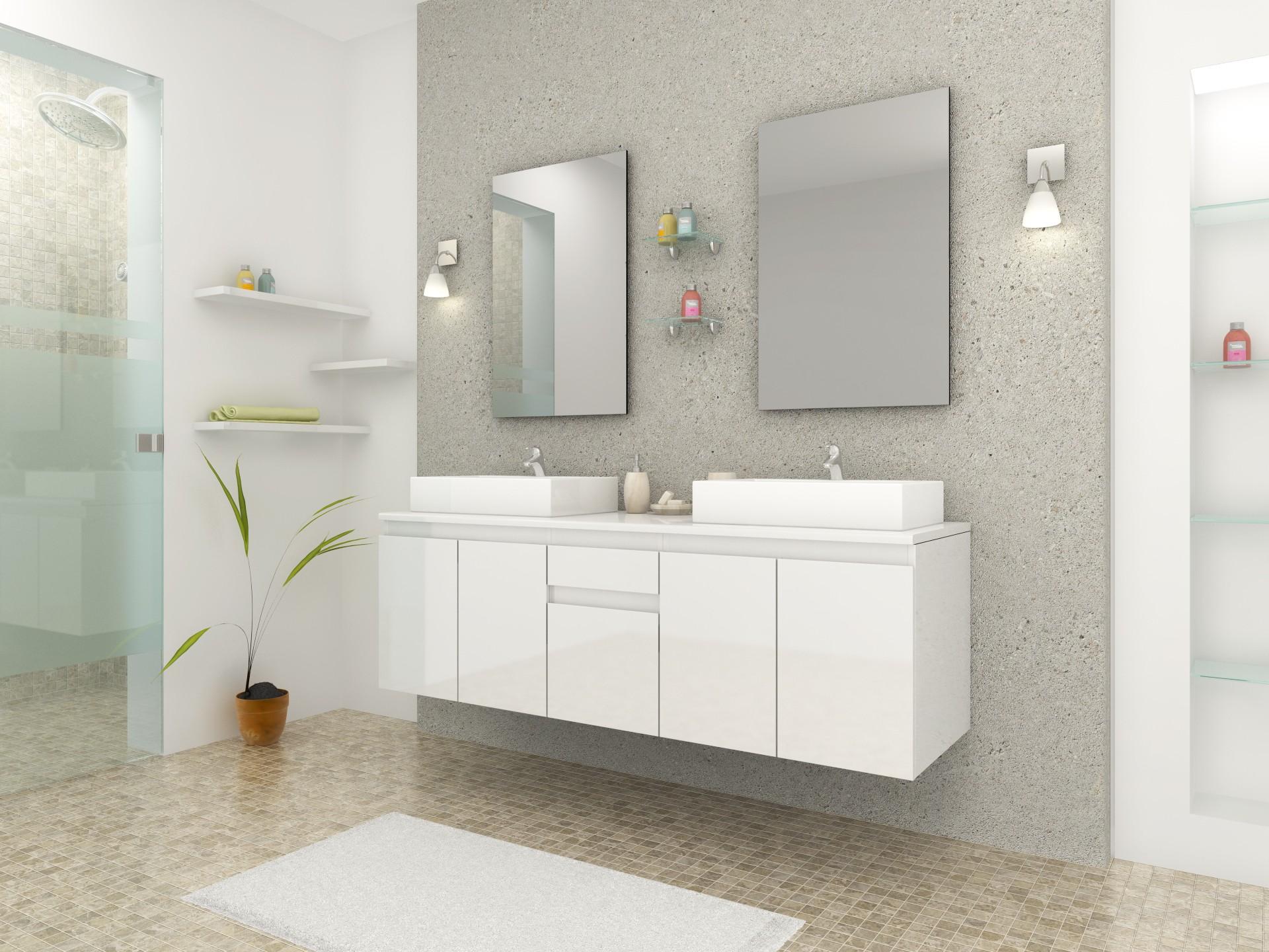 Ensemble Complet Meuble Salle Bain 2 Vasques Blanc Laque Miroirs