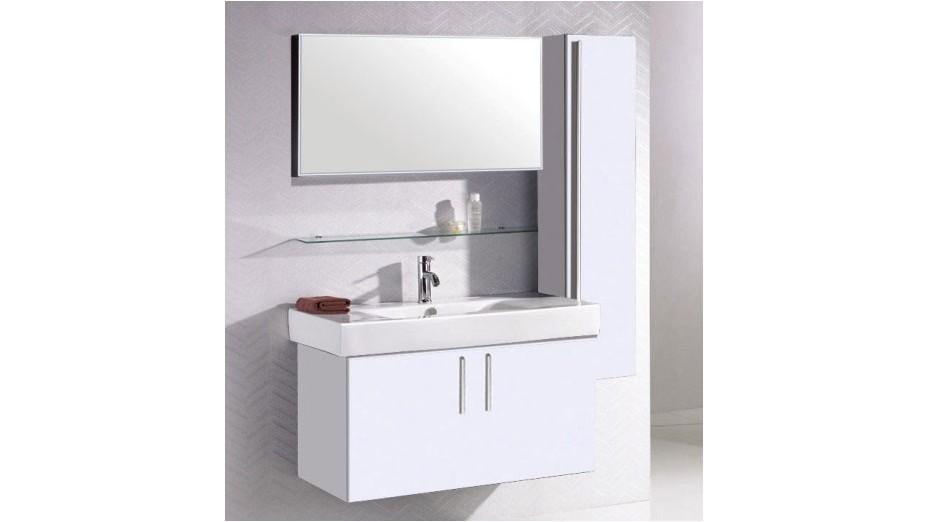Ensemble Meuble Salle Bain Simple Vasque Colonne Murale Miroir