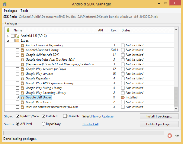Android sdk delphi
