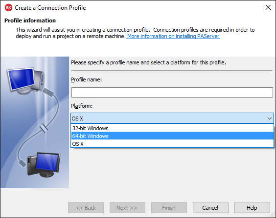 Create Windows 64-bit Profile Connection
