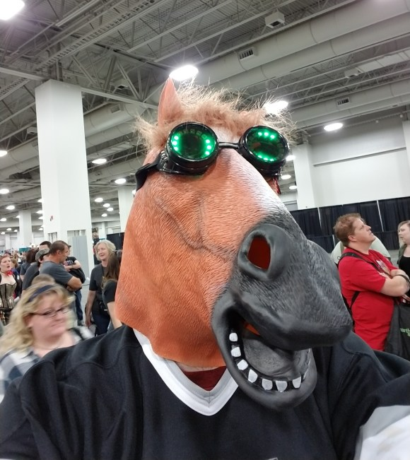 RGB LED Goggles, a horse mask, and a Los Angeles Kings hockey jersey