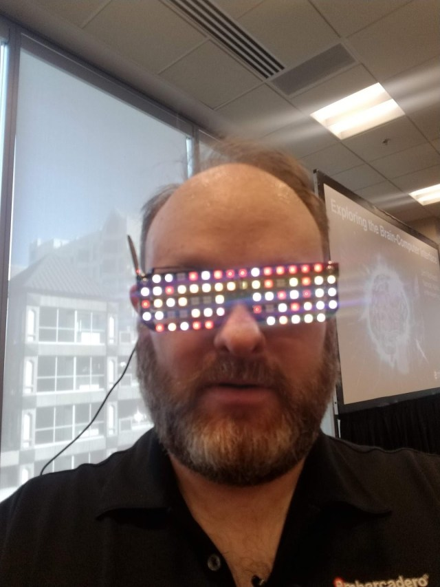 Wearing the RGB LED Shades
