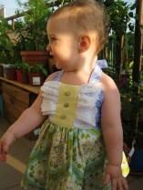 Green/Lavender Baby Dress, size 12-18 m