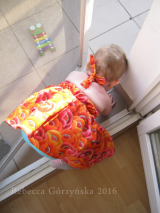 Orange/Pink Baby Dress, size 12-18 m