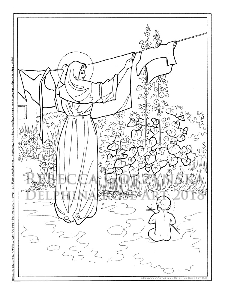 Polish Madonna (Our Lady of the Laundry) coloring page