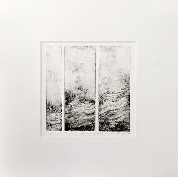estampe monotypée, pointe sèche sur rhénalon, 11 x 11 cm