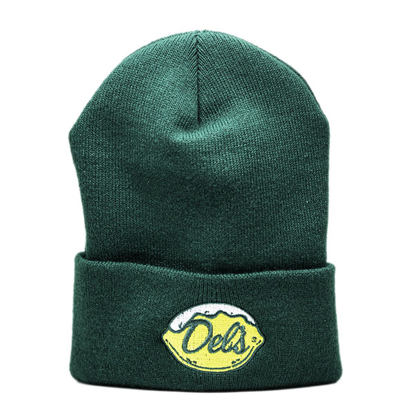 Green Knit Hat with Brim