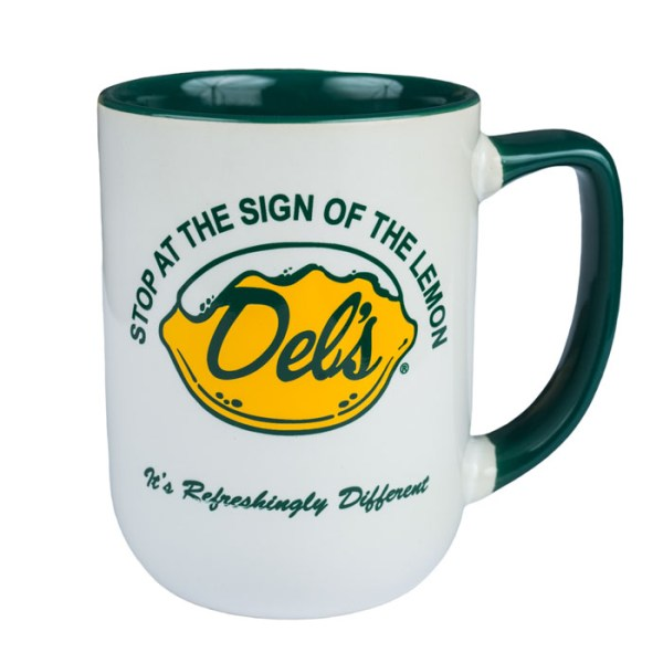 Del's Lemonade green coffee mug stop at the sign of the lemon