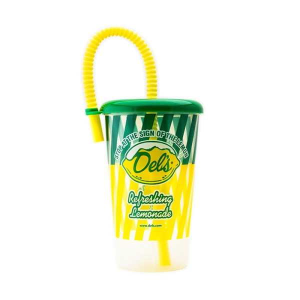 Del's Plastic Cup With Built In Straw