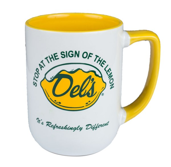Del's Lemonade yellow coffee mug stop at the sign of the lemon