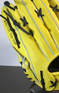 DELT▲製造のイエローの外野手用グローブの龍鱗柄