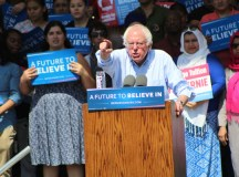 Democratic presidential candidate Bernie Sanders addresses the crowd on May 10 at Weber Point Events Center in Stockton.