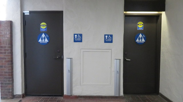 Gender neutral bathrooms located near forum classes for all students to use. Photo by Vivienne Aguilar.