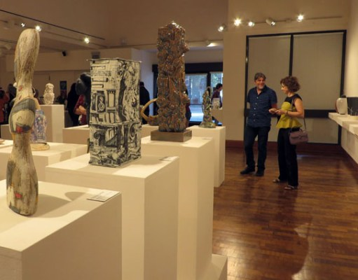 Students and art-lovers explore the 2018 Visions in Clay opening reception at San Joaquin Delta College's LH Gallery on Sept. 6, 2018.