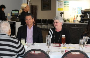 Chancellor Eloy Ortiz Oakley and Superintendent Kathy Hart at Student Chef for lunch for the Listening Tour. Photo by Vivienne Aguilar