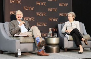 "Former New York Times publisher Arthur Sulzberger answers questions from University of the Pacific President Pamela Eibeck during the ""Impact of Media and Truth on Democracy"" event hosted by the university on Oct. 26. Photo by Catlan Nguyen."