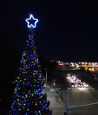 Stockton's Tree of Lights at night on Nov. 30, 2018. The tree lighting ceremony was rescheduled from Nov. 20th to a Tues. Dec. 11 due to the poor air quality. Lights on the tree can be bought and dedicated to loved one and all of the proceeds will go towards San Joaquin County Hospice services.
