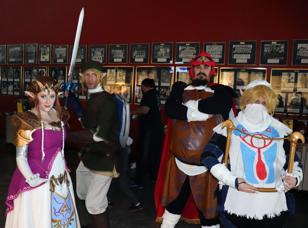 "(Left to Right) Heather Thompson, Robert Chapman, Dan Hanes and Sarah Johnson are dressed as characters from ""The Legend of Zelda"" for the first winter StocktonCon Thompson is dressed as Princess Zelda, Chapman as Link, Hanes as Ganondorf and Johnson as Sheik. Photo by Jasmine Gonzalez."