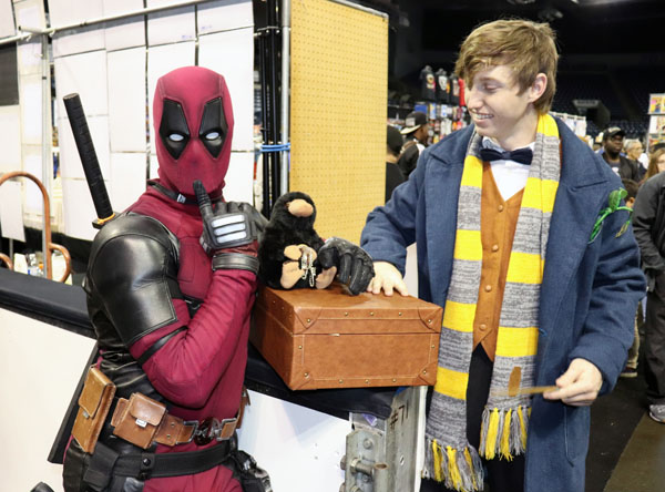 Gerpen and Baxter as Deadpool and Newt Scamander. Photo by Jasmine Gonzalez.