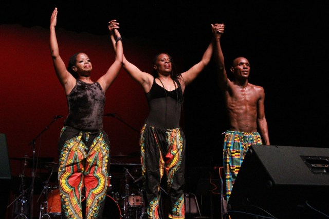 Dance Professor Valerie Gnassounou- Bynoe, Adjunct Dance Professor Nichole Manker and Delta alum Antoine Duprice Miller performing in Atherton Auditorium on Feb 8. Photo by Eva Martinez